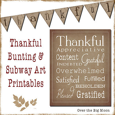 Thanksgiving Bunting and Subway Art