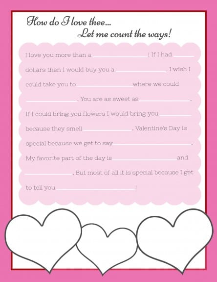free words for valentine cards