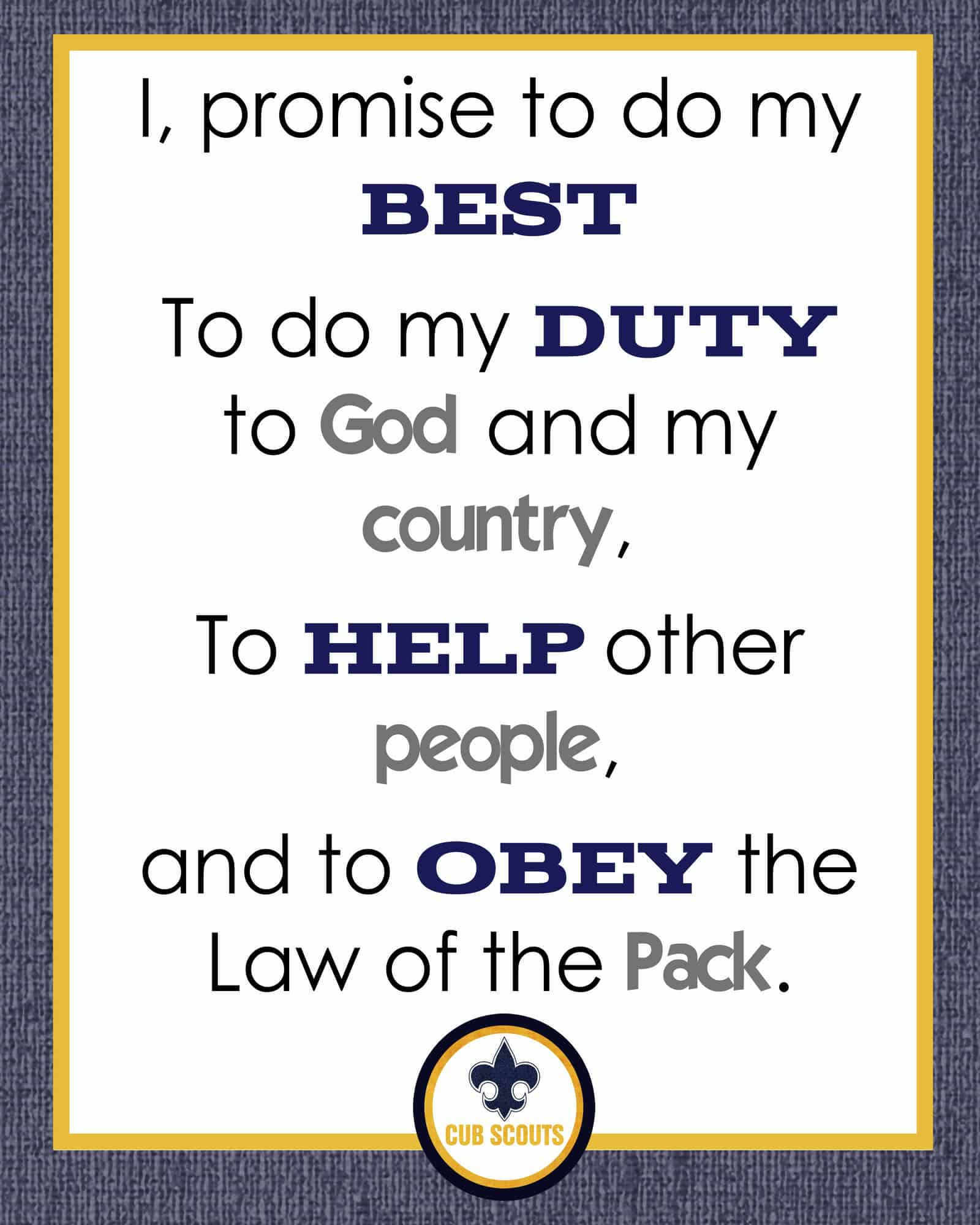 It's just an image of Candid Cub Scout Oath Printable