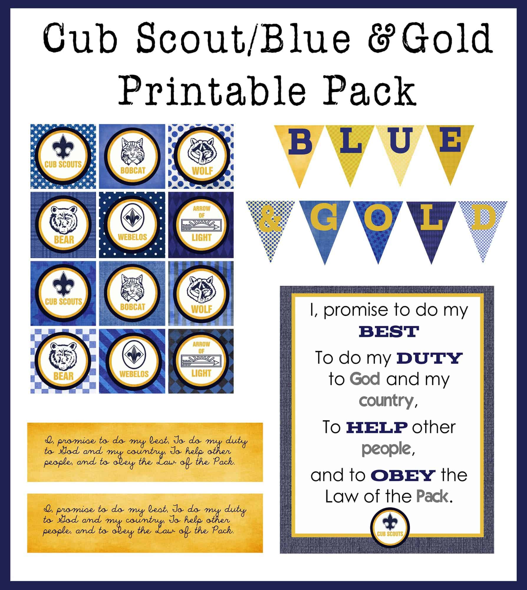 Blue Gold Printable Pack