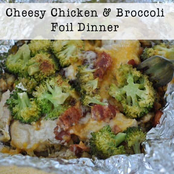 Camping Food Ideas In Foil: Cheesy Chicken And Broccoli Foil Dinner