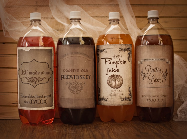 free printable harry potter drink labels perfect for any harry potter for halloween party