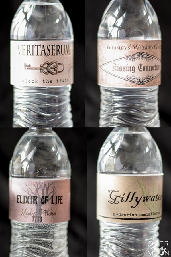 Free Printable Harry Potter Drink Labels - perfect for any Harry Potter for Halloween Party | www.overthebigmoon.com