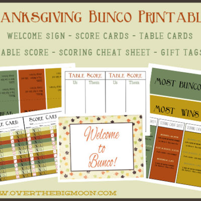 Thanksgiving Bunco Printables