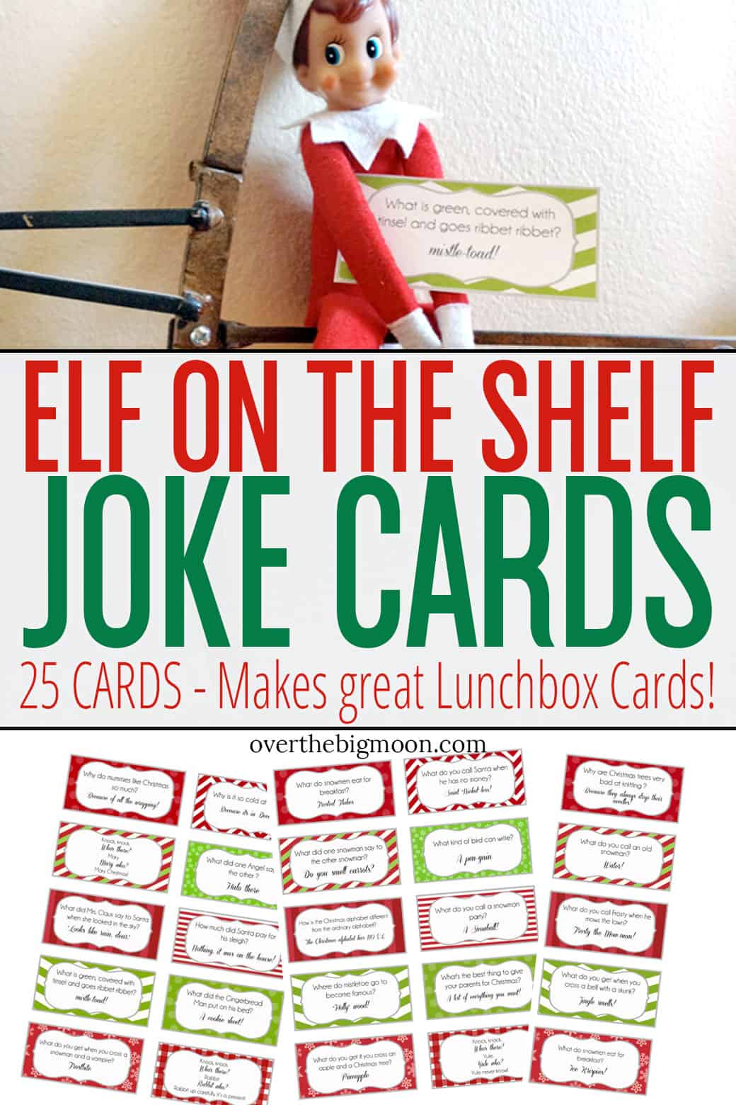 Elf on the Shelf Printable Joke Cards - Over the Big Moon