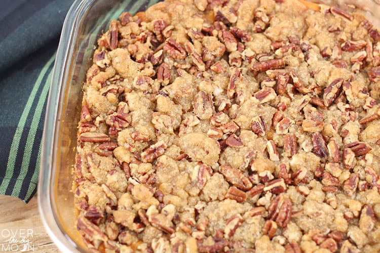 This Sweet Potato Casserole will be voted 'BEST SIDE' when served for your Thanksgiving or Christmas dinners! From overthebigmoon.com!