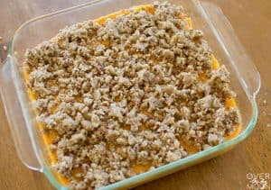 Add the crumble to the top of the Sweet Potato Casserole! From overthebigmoon.com!