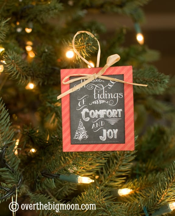 Turn Free Printables into Ornaments - this DIY Christmas Ornament is such a fun idea and could be used also as a gift tags! Love this idea! From www.overthebigmoon.com!