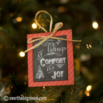Turn Free Printables into Ornaments + a Roundup of Free Chalkboard Printables!