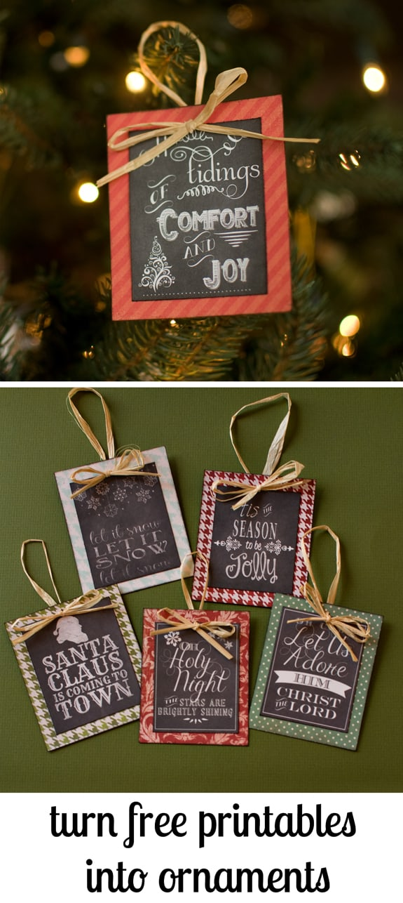 Untitled 1 Turn Free Printables into Ornaments + a Round up of Free Chalkboard Printables!