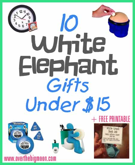 WhiteTrash 10 Fun White Elephant Gifts Under $15 + Free Printable