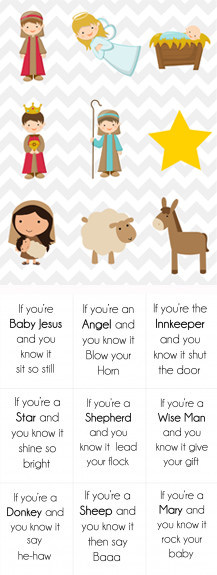 nativity button1 Christmas Song Cards & Game for Kids {Free Printable}