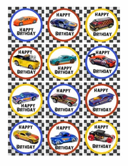 Cupcake topper happy birthday 444x575 Hot Wheels Birthday Party Pack Free Printables