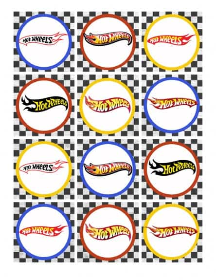 Cupcake topper hot wheels logo 444x575 Hot Wheels Birthday Party Pack Free Printables