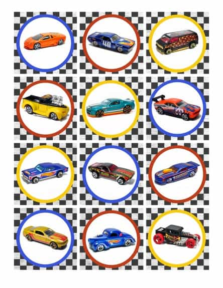 Cupcake topper plain 444x575 Hot Wheels Birthday Party Pack Free Printables