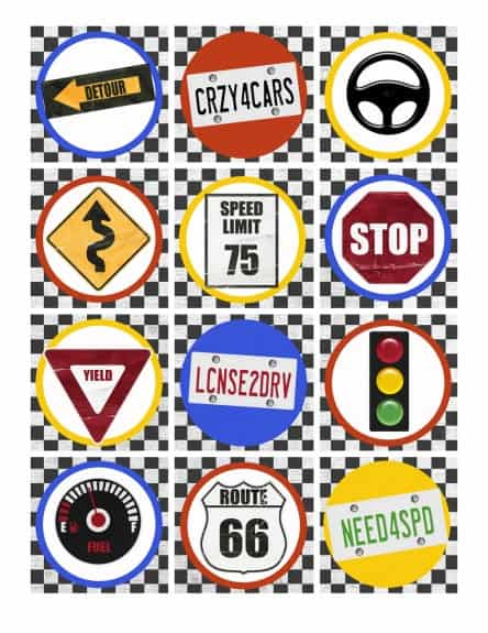 Cupcake topper traffic signs
