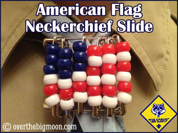 FlagButton American Flag Neckerchief Slide   Cub Scouts