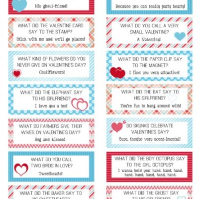FREE Printable Valentines Lunch Box Joke Cards
