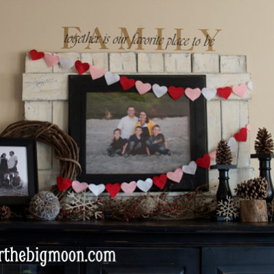 Valentines Decor and Felt Hearts Banner