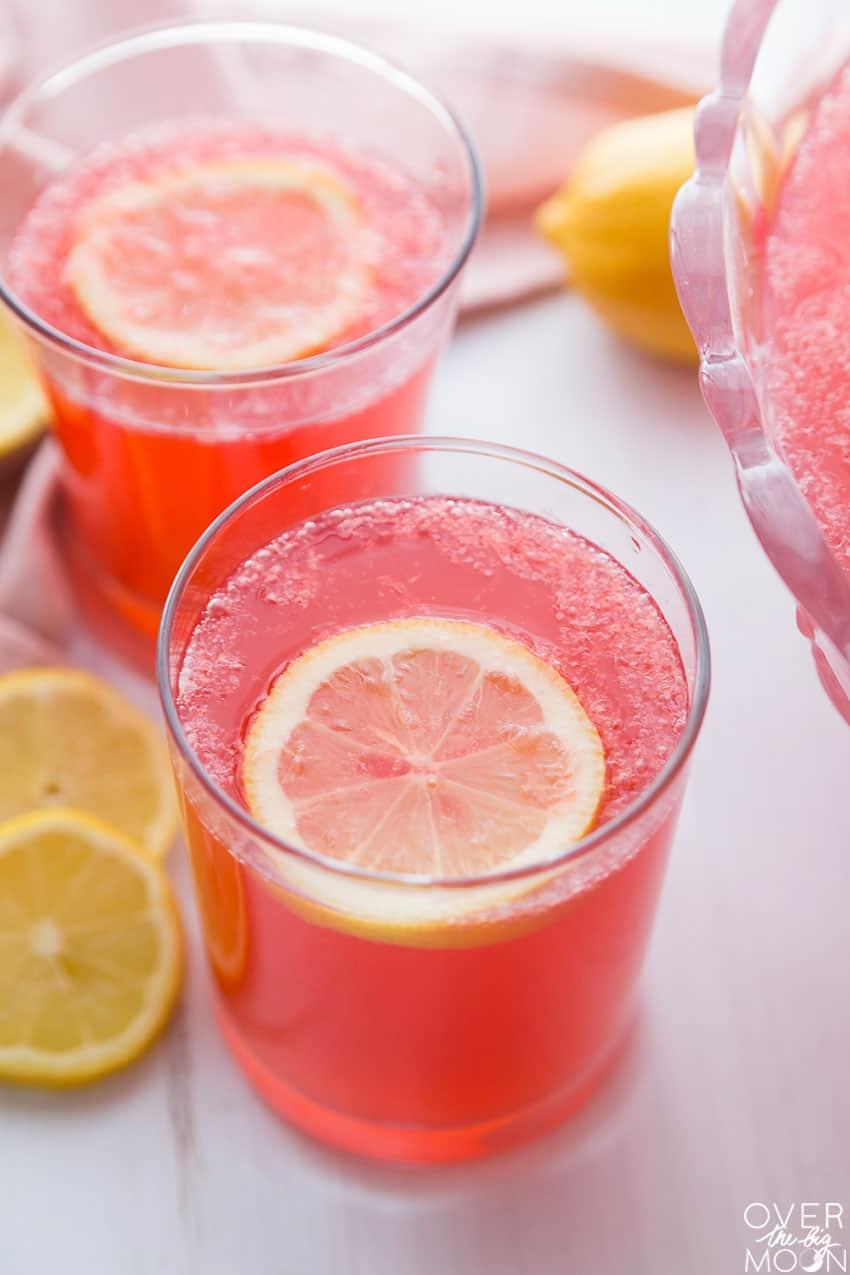 A glass of Sparkling Hawaiian Punch Lemonade! From overthebigmoon.com!