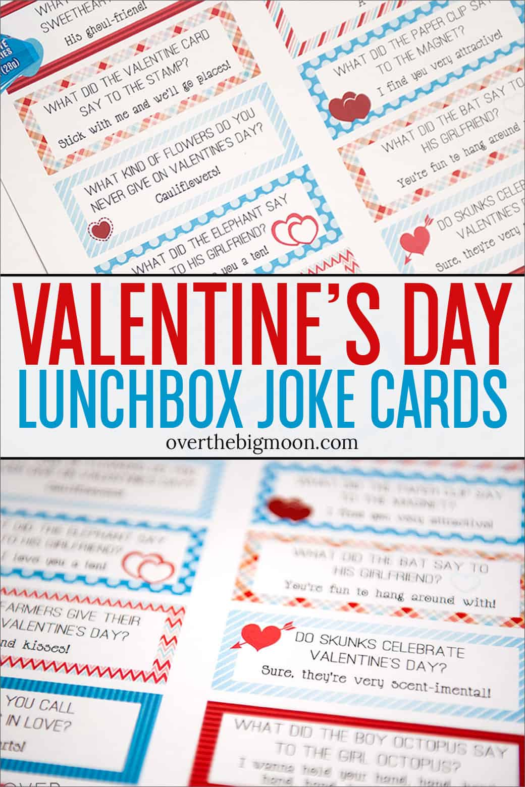 These Free Printable Valentines Lunch Box Joke Cards are a fun way to celebrate the holiday all month long! From overthebigmoon.com!