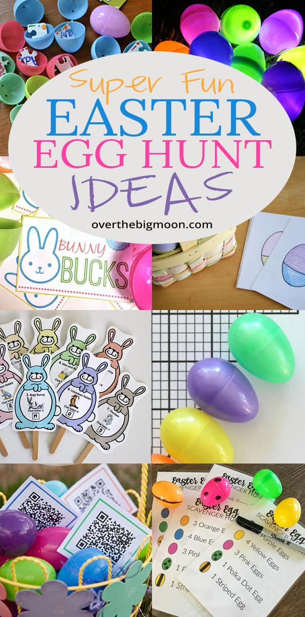Looking for some new Super Fun Easter Egg Hunt Ideas? Look no further! I've rounded up over 10 fun Easter Egg Hunt Variations for you! Glow in the dark, Mix and Match, Easter Egg Hunt Clues and more! Let's make this years Easter Egg Hunt the best one you've ever hosted! From overthebigmoon.com!