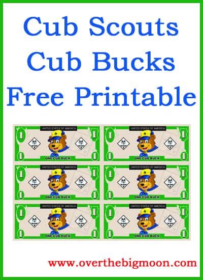 Cub buck free printable over the big moon for Classroom bucks template