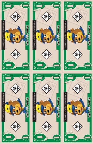 Cub buck free printable over the big moon for Classroom bucks template