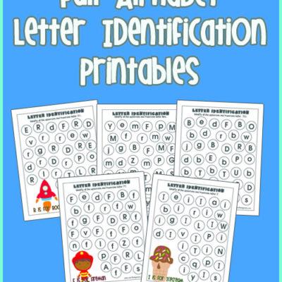Full Alphabet Letter Identification Printables for kids! Kids love these!!