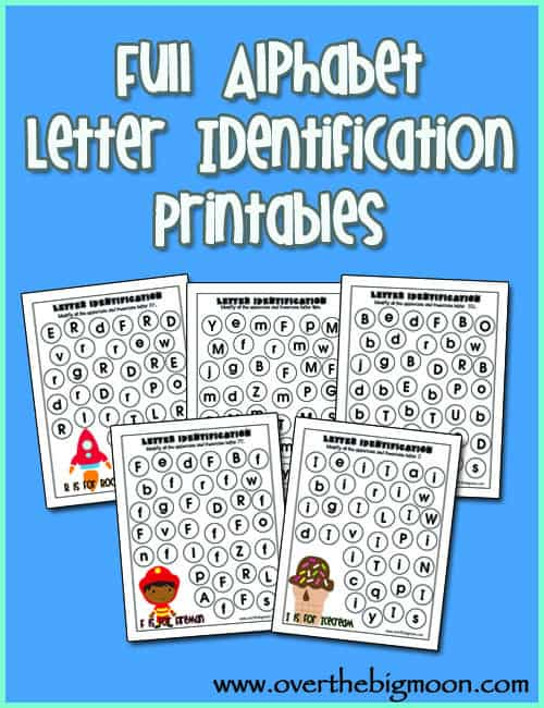 Over The Big Moon Full Alphabet Letter Identification Printables – Alphabet Recognition Worksheets