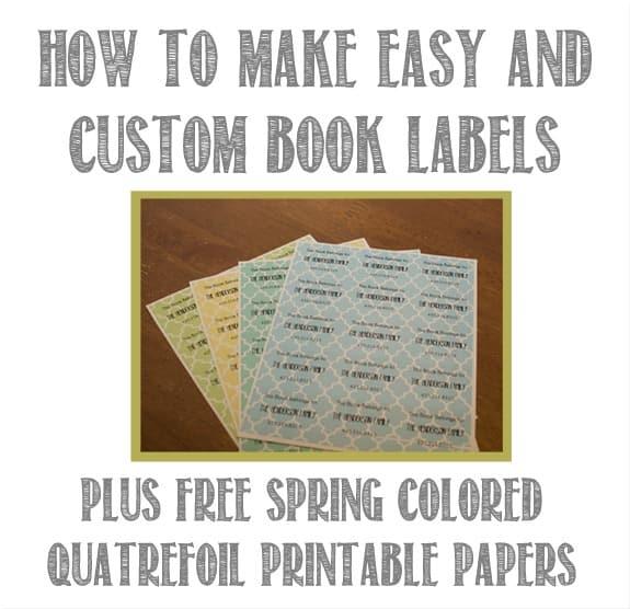 free custom book labels