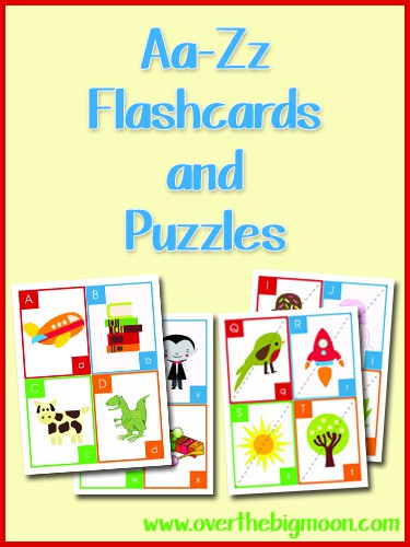 button Aa Zz Flash Cards and Puzzles