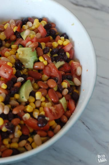 Easy Bean Dip - this makes an awesome party food or appetizer! Super easy to throw together too!   www.overthebigmoon.com