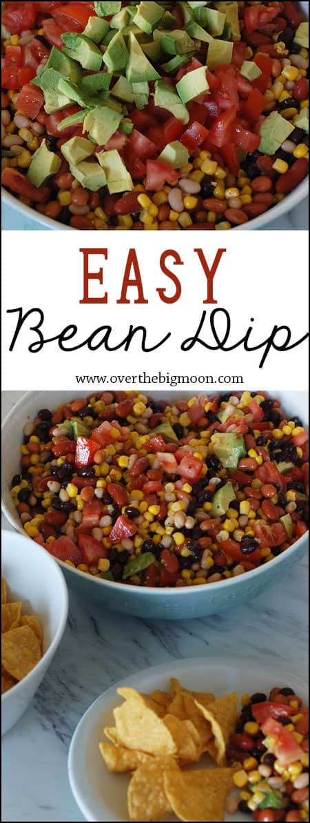 Easy Bean Dip - this makes an awesome party food or appetizer! Super easy to throw together too! | www.overthebigmoon.com