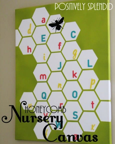 honeycomb nursery wall canvas 2 459x575 20 DIY Canvas Art Tutorials