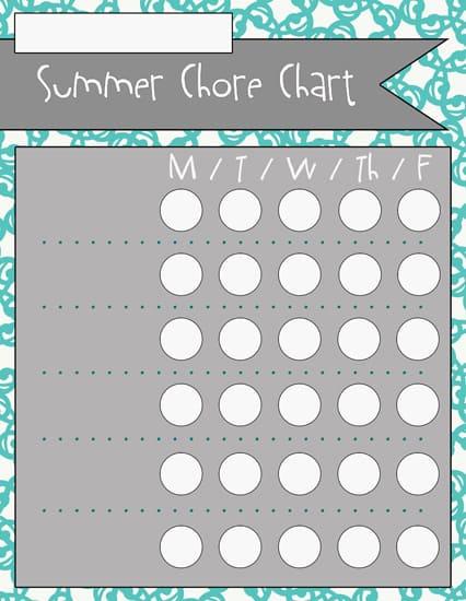 1blank Summer Chore Charts