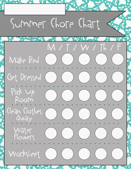 1completed Summer Chore Charts