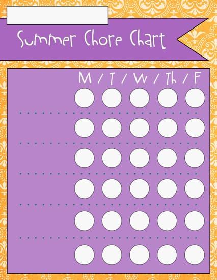 2blank Summer Chore Charts