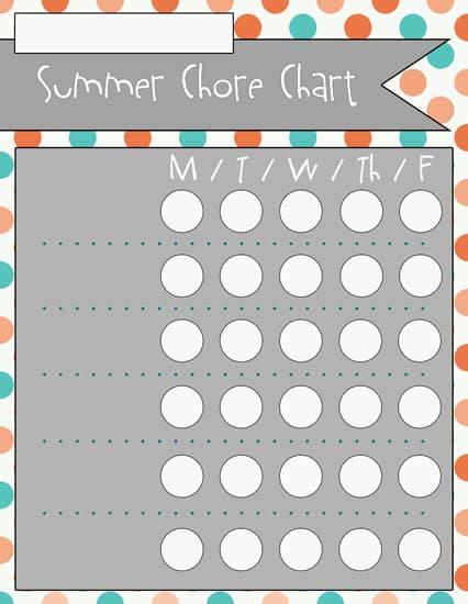 3blank Summer Chore Charts