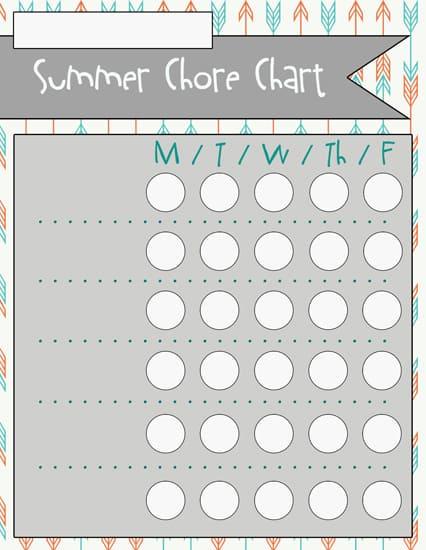 4blank Summer Chore Charts