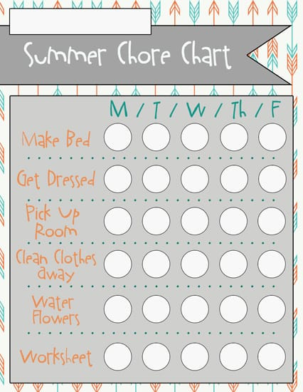 4complete Summer Chore Charts