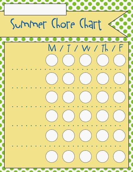 5blank Summer Chore Charts
