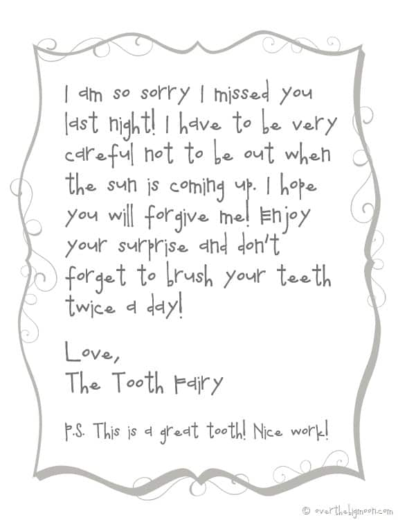 Forgettful tooth fairy free printable note for Free printable tooth fairy letter template