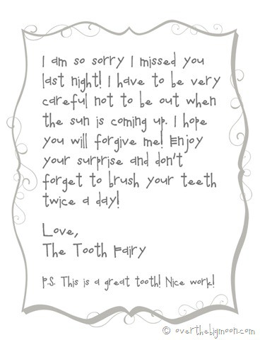 forgetful tooth fairy note