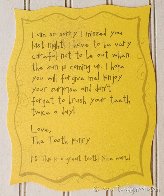Forgettful tooth fairy free printable note