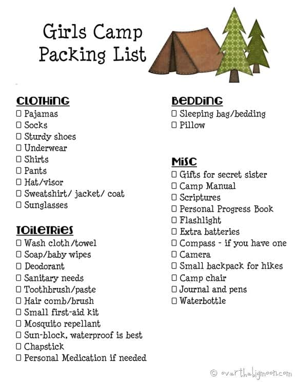 Girls Camp Printable Packing List and Leaders Must Haves for Camp!