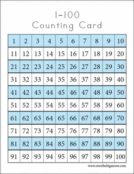 1 100 chart 444x575 Counting Cards Printables