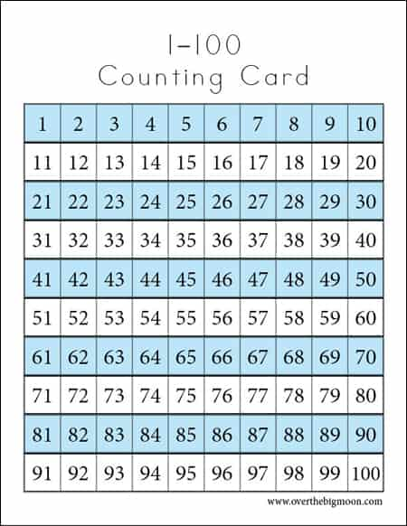 Counting Cards Printables - Over The Big Moon