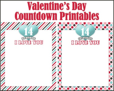 Countdown Button Valentines Day Countdown Printable
