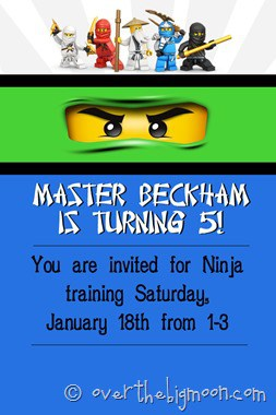 Ninjago Birthday Invite thumb1 Ninjago Birthday Party with Free Printables
